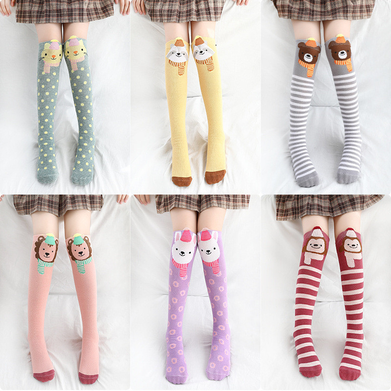 New Knee Socks Children's Cartoon Striped Kniekousen Meisje Animal Print Calcetines Dibujos For Girls Cotton Kids Baby High Fox