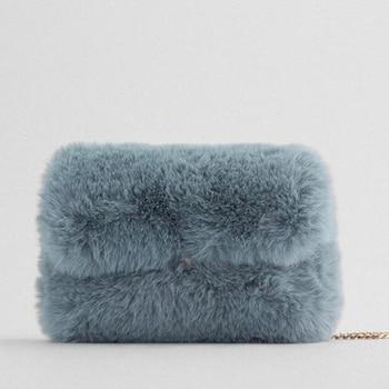 Fashion Soft Plush Women Messenger Bag Casual Chain Furry Shoulder Crossbody Bags for Women 2020 Furry Purse Faux Fur Bag Female