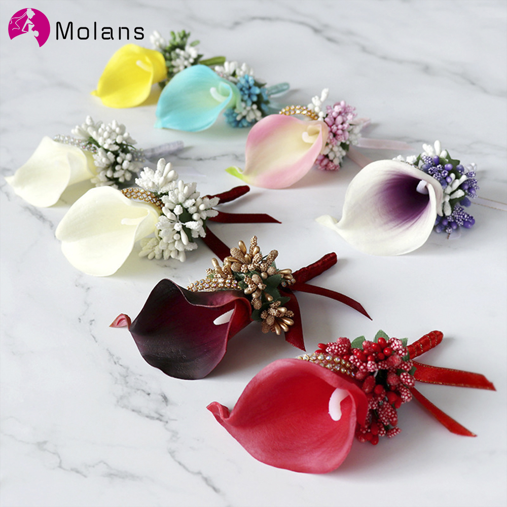 MOLANS Flowers With Pin For Wedding Prom Party Bridesmaid Handcrafted Groomsman Boutonniere Artificial Classic Wedding Accessori