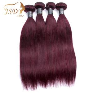 Image 4 - JSDshine mechones de cabello liso brasileño con cierre, rojo 99J, borgoña, mechones de cabello humano, postizo, mechones con cierre no Remy