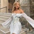 Женское шифоновое платье с расклешенными рукавами, однотонное платье во французском стиле принцессы, лето 2021