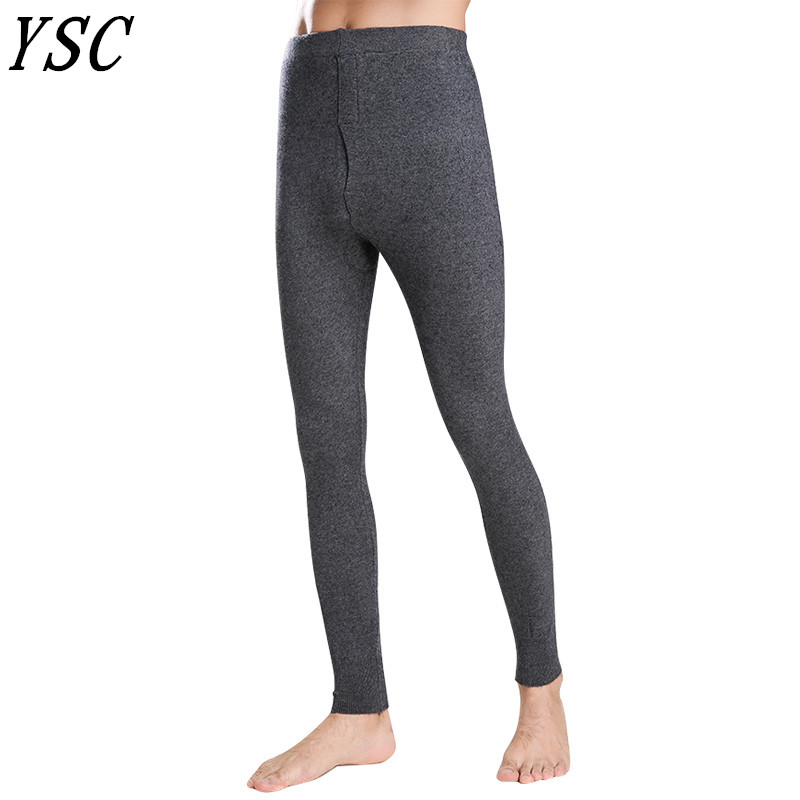 YSC 2019 New style Men 's Cashmere wool blend Warm Pants Knitted Long Johns Spandex Tights trousers Underwear Sexy High-quality
