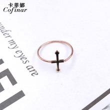Fashion womens jewelry  Simple Titanium Steel Rose Gold Cross Ring Individual Creative Gift Wholesale