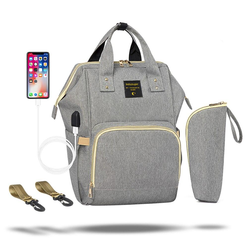 おむつバッグ防水ファッションママ USB ベビーおむつ看護バックパック 2019 多機能ベビーカーママ