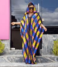 African Dresses For Women 2019 Africa Clothing Muslim Long Dress Hooded Striped Lady Plus Size