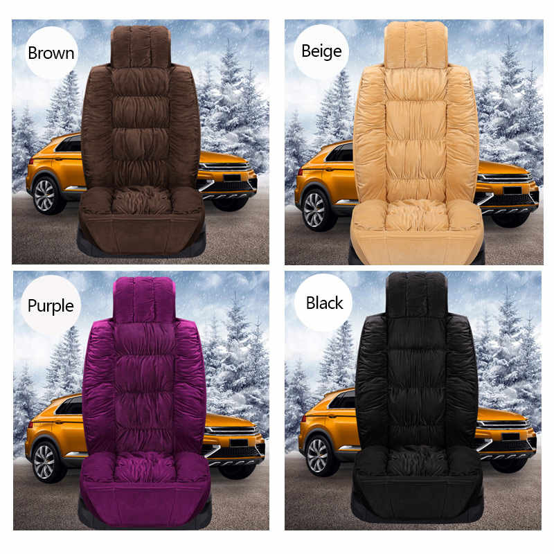 MIAOXIAO Plush Car Seat Cushion Cover Universal Soft Fluffy Winter Warm Car Seat full Set for Most Car Seat Protector,Beige,1 sit