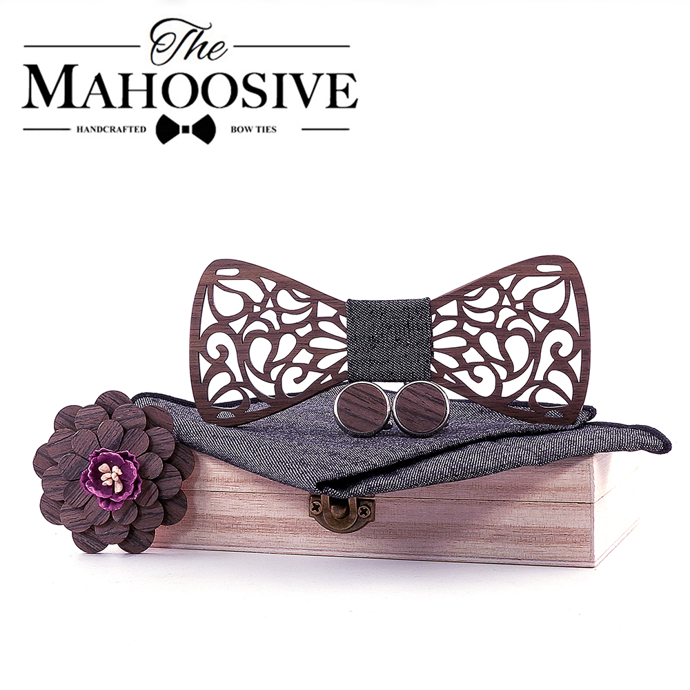 Christmas Gift Wooden Bow Ties Gentleman Groom Wooden Neckties Butterfly Wedding Party Bow Ties Butterfly Wooden Tie For Man