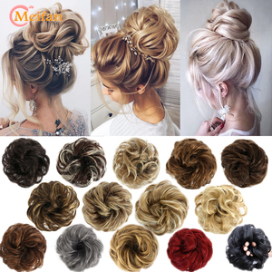 MEIFAN High Temperature Fiber Synthetic Fake Hair Bun Extension Nature Hair Elastic rubber Band Donut Scrunchies Curly Chignon