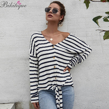Bikitique Striped Knot Front Pullovers Women V-neck Loose Slim Long Sleeve Casual Preppy Jumper Streetwear Women Sweaters Autumn knot front v neck striped top