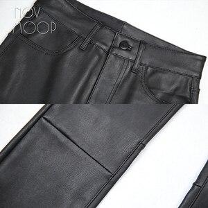 Image 5 - אמריקאי הולם סגנון נשים החורף שחור בינוני מותניים כבש אמיתי עור למתוח מכנסי עיפרון pantalon femme LT2972