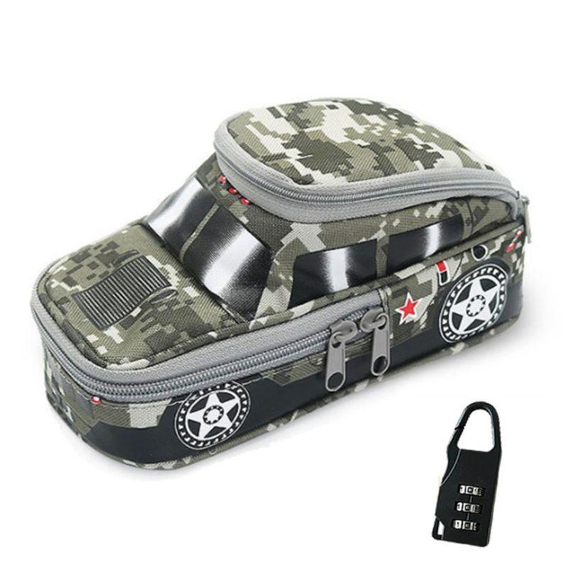 Vehicle Pen Pouch Bag With Combination Lock Pencil Case Double Zipper For Boys   X6HB