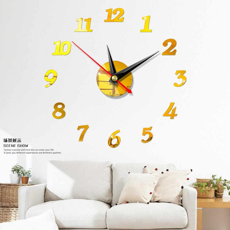 2020 darmowa wysyłka nowy zegar zegarek zegary ścienne 3d Diy lustro akrylowe naklejki Home Decoration salon igła kwarcowa