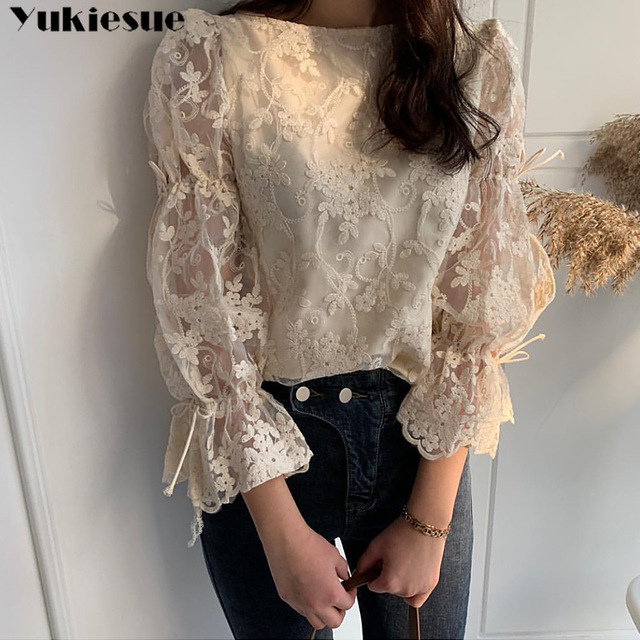 Spring Autumn New Girl Chiffon shirt Fashion embroidered lace Tops Elegant Flare sleeve Casual Women blouse Blusa womens blouses 1