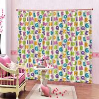 European Abstract Curtains Colored Alphabet Letters Pattern Education School Puzzle Children Graphic Print Window Drapes