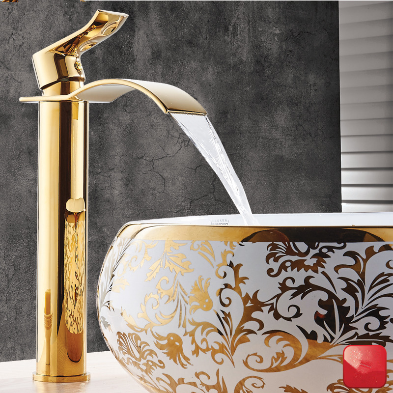 Basin Faucet Gold and white Waterfall Faucet Brass Bathroom Faucet Bathroom Basin Faucet Mixer Tap Hot and Cold Sink faucet(China)
