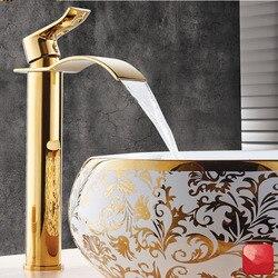 Becken Wasserhahn Gold und weiß Wasserfall Wasserhahn Messing Bad Wasserhahn Bad Becken Wasserhahn Mischbatterie Heißer und Kalten Waschbecken wasserhahn