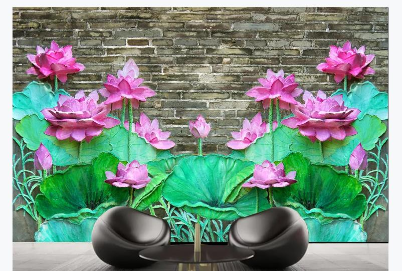 Large 3D Stereo Mural Lotus Relief Wallpapers For Living Room Wall Paper Decorative KTV Hote Cafe