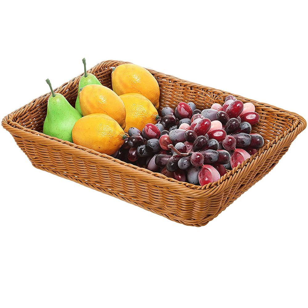 Плетеная корзина из ротанга для хранения фруктов, корзина для конфет, закусок, фруктов, овощей, Сервировочная корзина для супермаркета, рест...