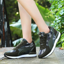 цена на Women Vulcanized Shoes Fashion Chunky Sneakers 2019 Camouflage Casual Basket Femme Walking Shoes Lace Up Mesh Trainers Footwear