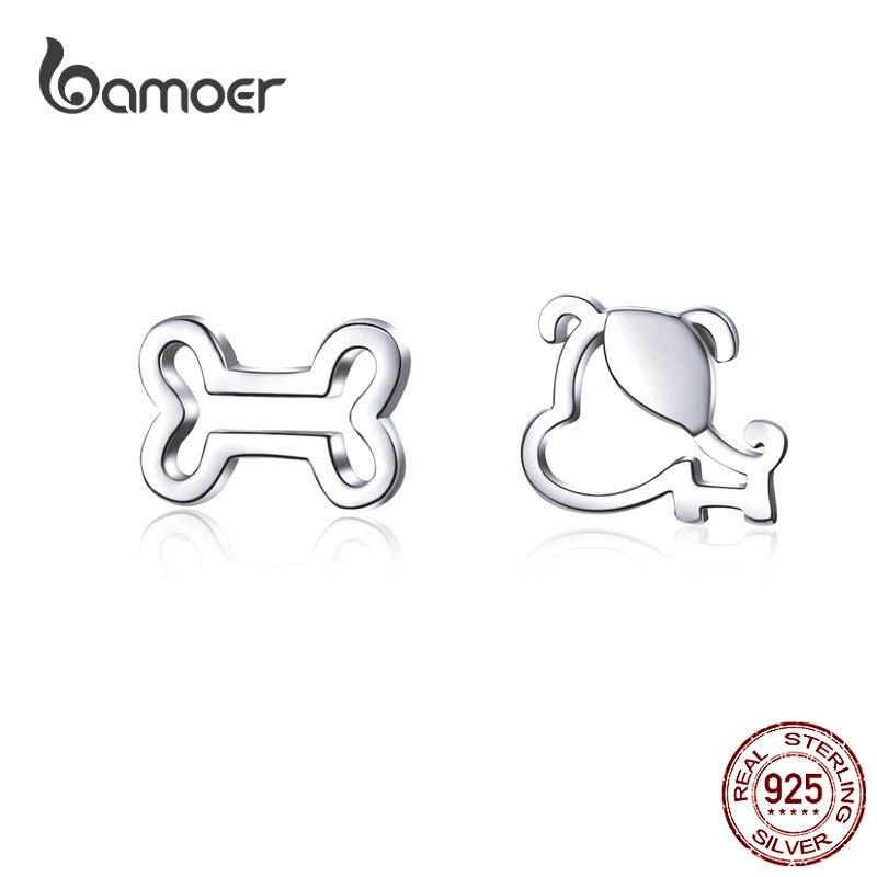 Bamoer Dog And Bone Stud Earrings  For Girl Sterling Silver 925 Cat Ear Studs Jewelry Bijoux Anti-allergy Jewelry SCE649