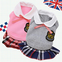 Plaid School Style Dogs Dress Autumn Winter Pet Dog Hoodie roupa cachorro For Bichon Teddy Cat Puppy Flower Skirt XS M L XL(China)