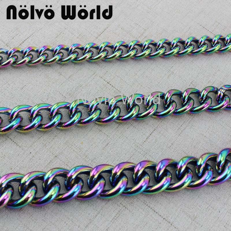 1-5 Meters  NEW Fashion 5 Kinds Of Rainbow Aluminous Light Weight Obag Chain Bags Purses Strap Accessory Chains,Factory Direct