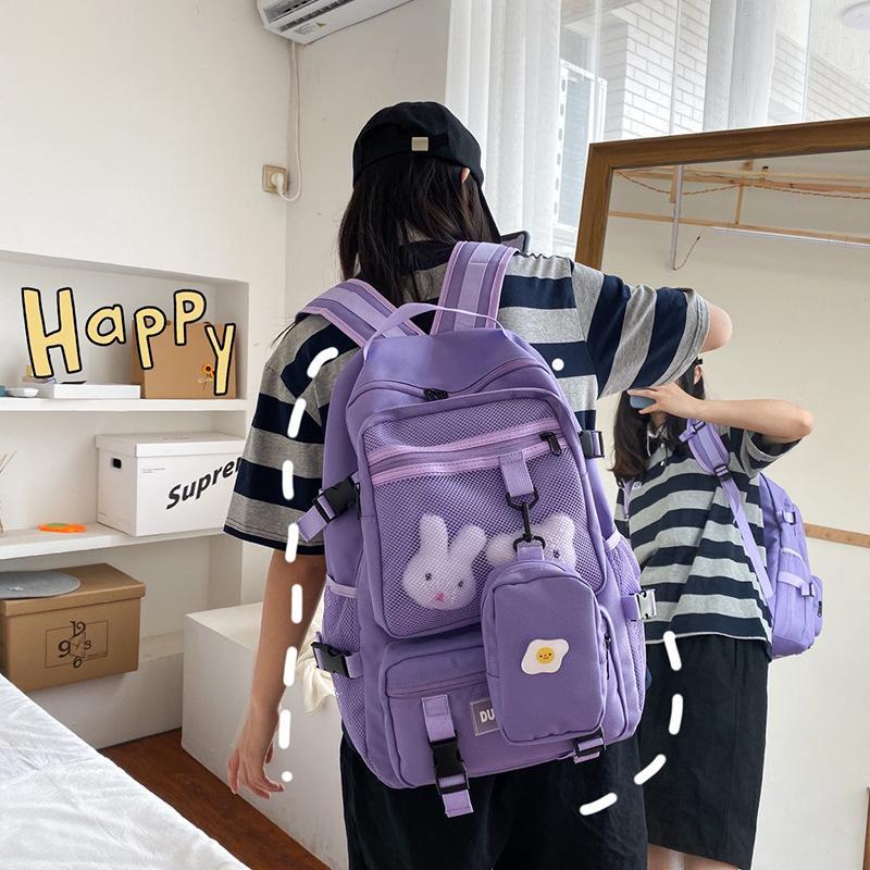 Multiple Pockets Backpack Women Useful Large Capacity School Bag Solid Color College Student Book Bag Female Ladies Backpacks