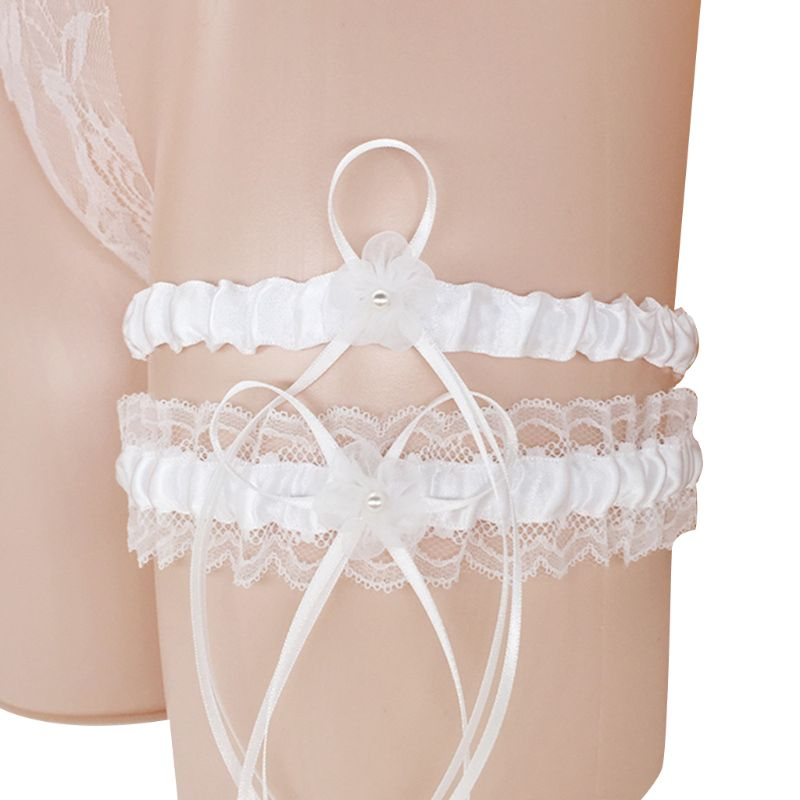8 Colors Wedding Bridal Thigh Garters Set Pleated Ruffles Lace Bowknot Floral Imitation Pearl Elastic Leg Ring Prom Party Favors