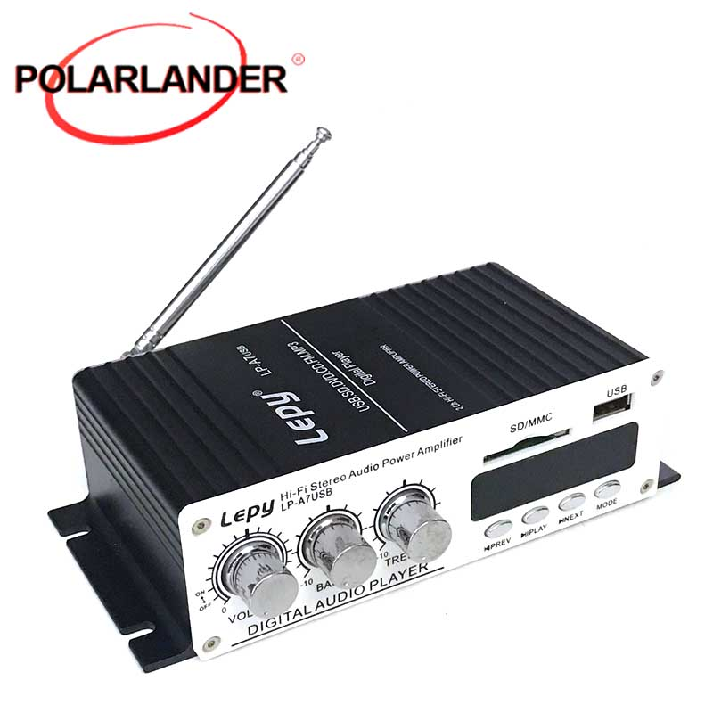 LP-A7 USB Hi-Fi Stereo Audio Amplifier FM MP3 player 2 Channel with USB/SD Port & Remote Control Car Amplifiers