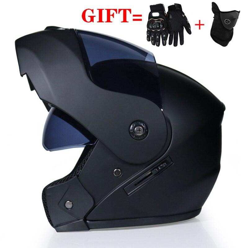 2 Gifts Unisex Racing Motocross Helmets Modular Dual Lens Motorcycle Helmet Full Face Safe Helmet Flip Up Cascos Para Moto