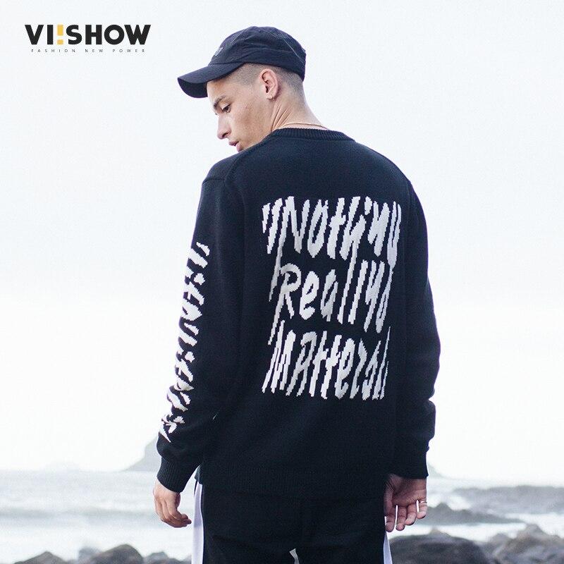 VIISHOW, новый модный мужской свитер, пуловер для мужчин, Рождественский свитер с буквенным принтом, повседневный вязаный свитер, Мужская одежд...