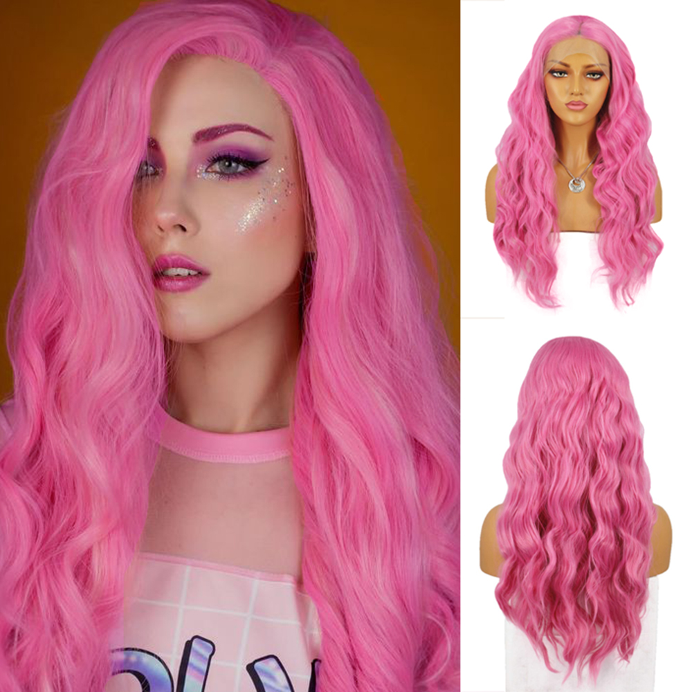 AIMEYA Pink Long Body Wave Synthetic Lace Front Wigs For Women With Middle Part Pre Plucked Glueless Natural Hairline Wig
