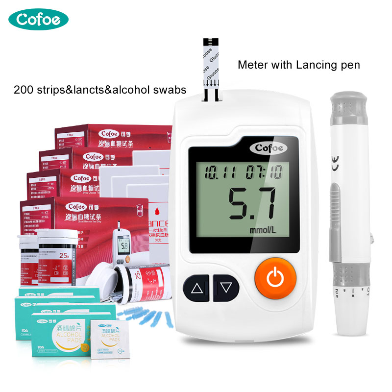 Cofoe Yili Glucose Meter/Blood Sugar Monitor/Household Glucometer With 200pcs Test Strips&Lancets&Alcohol Swabs For Diabetics