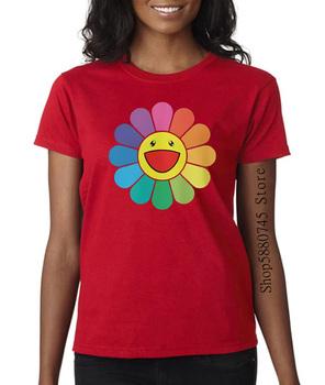 Takashi Murakami szczęśliwy kwiat T Shirt Unisex Murakami T Shirt dla mężczyzn i kobiet tanie i dobre opinie PEDRAZA COTTON Krótki Suknem Cartoon Na co dzień O-neck