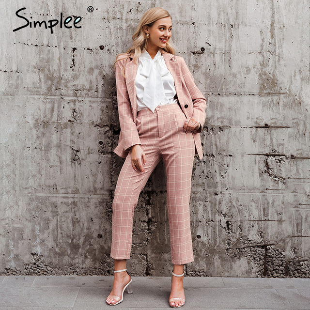 Simplee Fashion plaid women blazer suits Long sleeve double breasted blazer pants set Pink office ladies two-piece blazer sets 2
