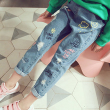 Осенние рваные джинсы для девочек, детские джинсы 7/8 Повседневные детские джинсы для подростков