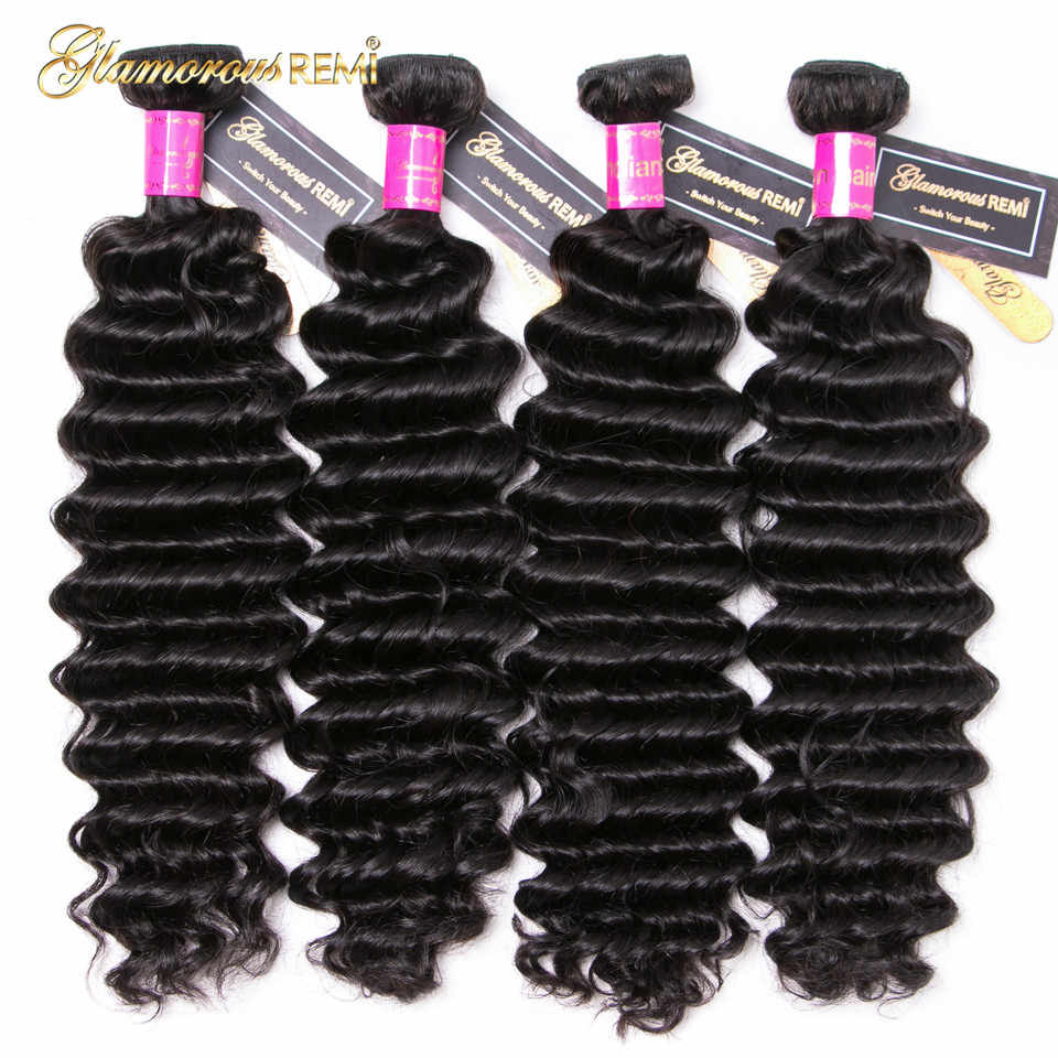 Indian Deep Wave 1/3/4 Bundles Deal 100% Human Hair Double Weft Remy Hair Weave Extensions Natural Color 8-26inch Middle Ratio