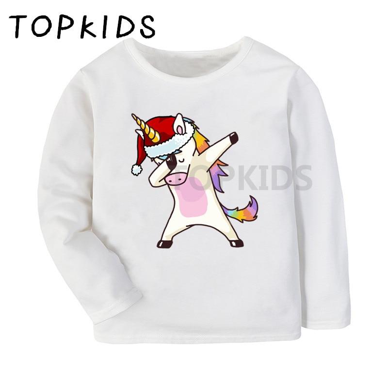 Dabbing Unicorn Dab Santa Hat Christmas 2-6 Years Old Child Short-Sleeved T-Shirt