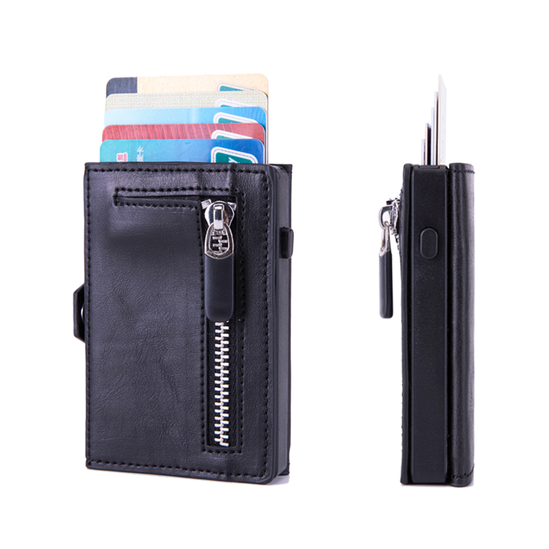 BISI GORO 2020 Hasp Single Box Smart Wallet RFID Button Credit Card Holder Men Automatic Card Case Coin Purse 2020 Pop-up Holder