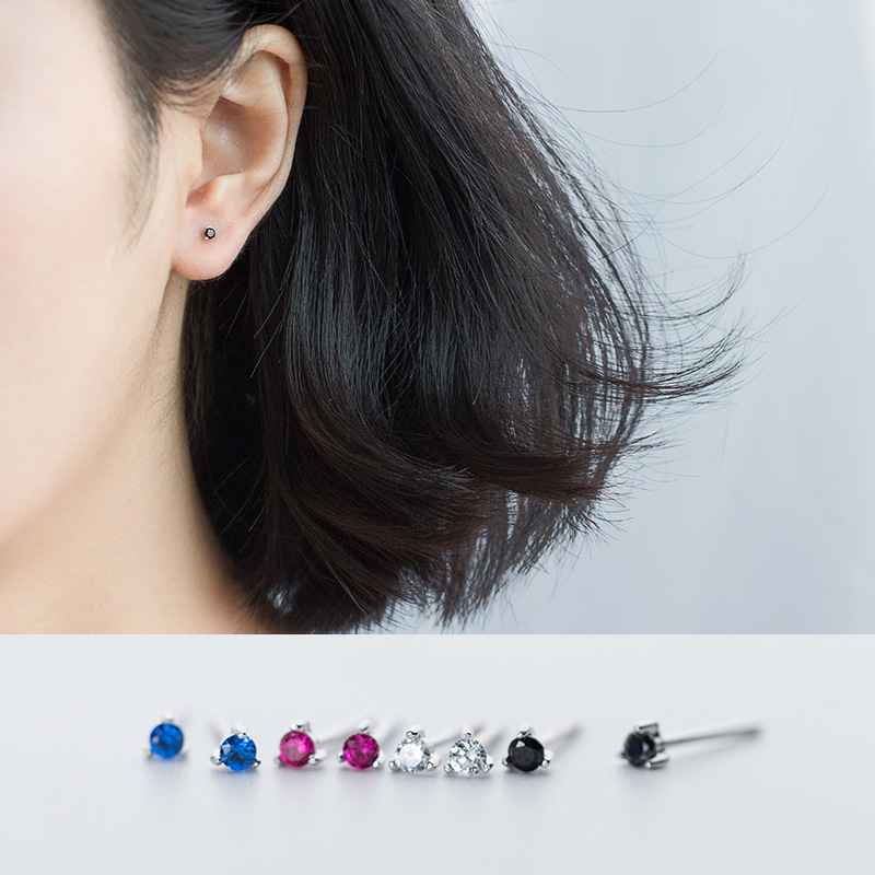 Modian Fashion Colorful Exquisite Zirconia Stud Earrings For Girls 925 Sterling Silver Small Cute Studs Jewelry Brincos 2020 New