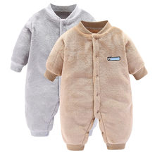 2019 New For Newborns Romper Fashion Unisex Infant Jumpsuit Baby Boys Girls Long Sleeve Solid Fleece Romper Costume bebek tulum(China)