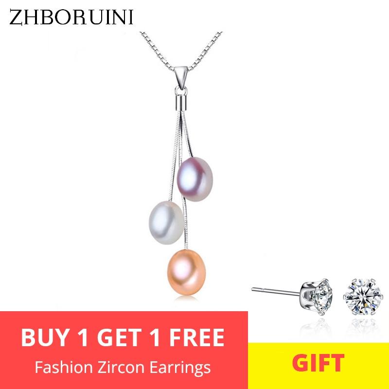 ZHBORUINI 2019 mode collier de perles bijoux de perles multicolore naturel perle pendentif 925 bijoux en argent Sterling pour les femmes cadeau