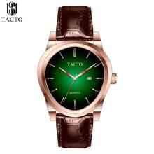 TACTO-relojes para hombre, reloj de pulsera resistente al agua deportivo, cronógrafo de cuarzo, militar, de cuero genuino, Masculino