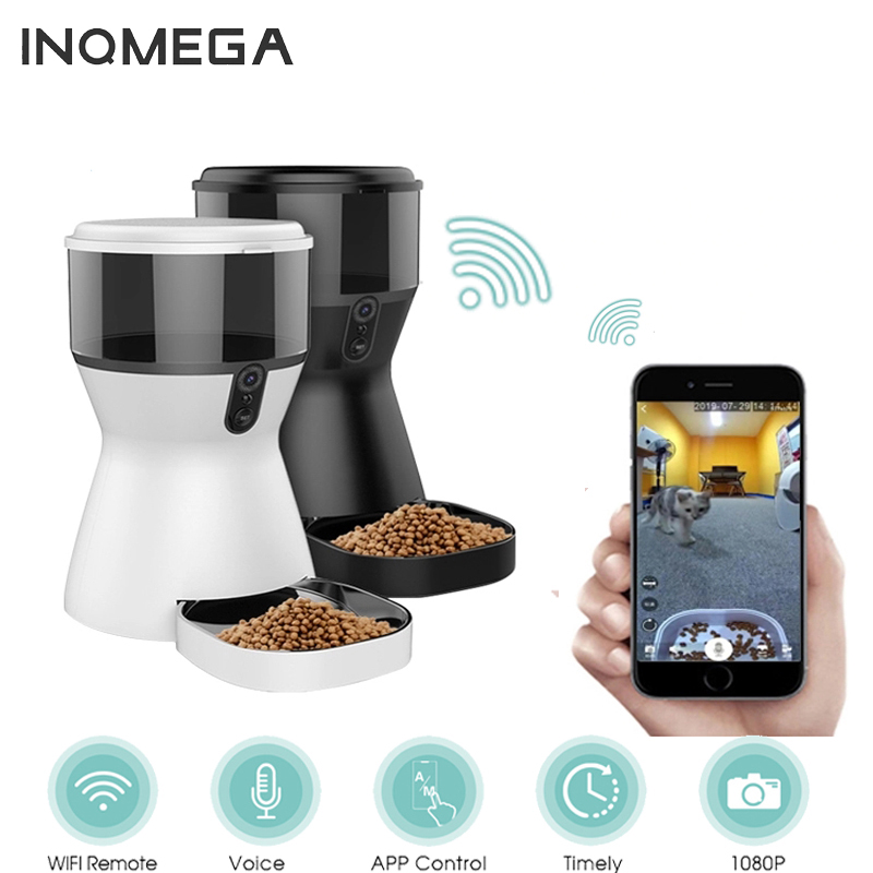 INQMEGA 4L Pet Feeder Wifi Remote Control Smart Automatic Pet Feeder Dogs Cat Food Rechargable with Video Monitor 1080p Wifi Cam image