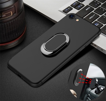 Finger Ring Stand Car Holder Case for Apple iPhone X XR XS SE2 11 Pro Max 6s 7 8 Plus 5s se 5C iPod Touch 6 5 Soft TPU Cover image