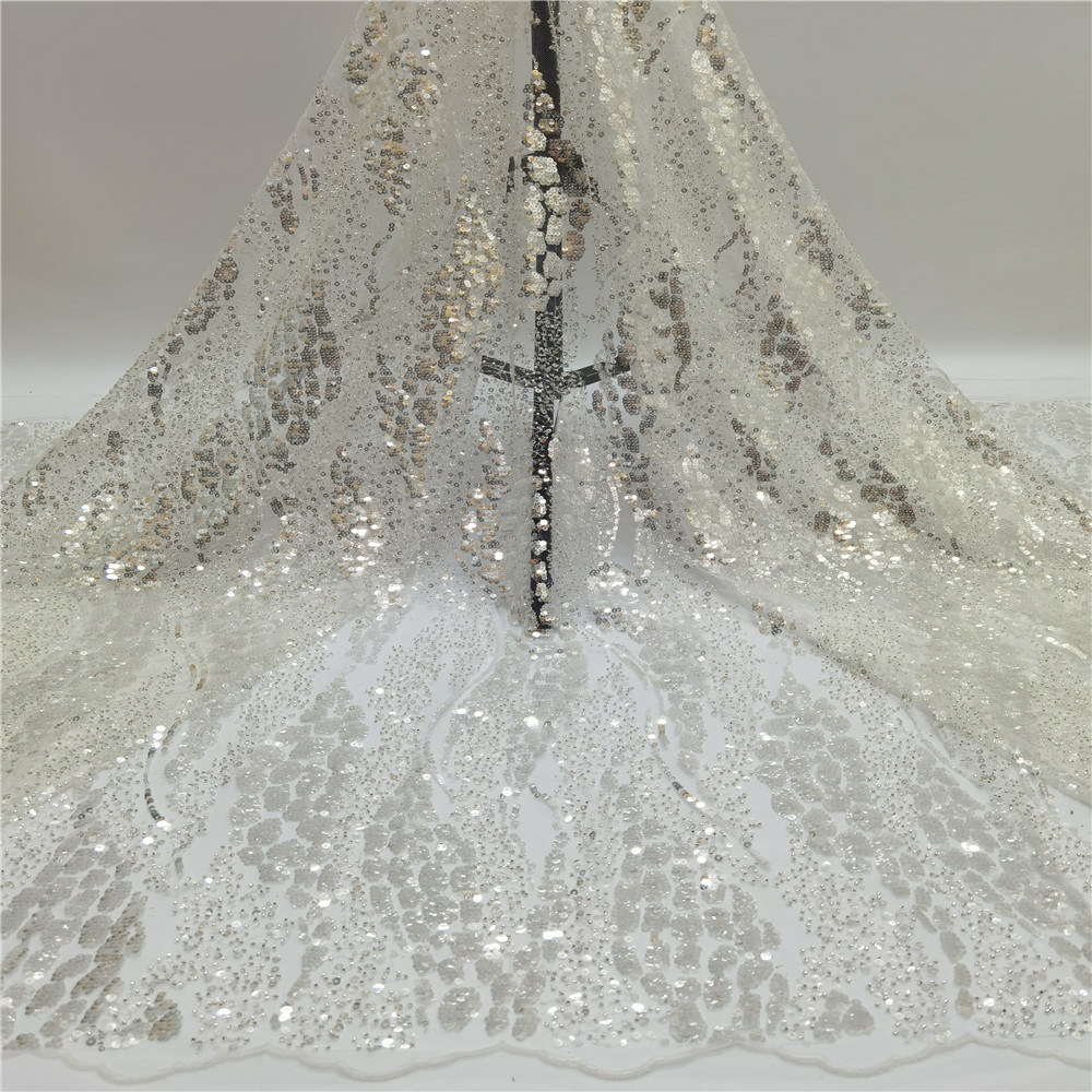 Latest High Quality African Tulle Lace Fabric 2021 French Lace Fabric For Wedding African Lace Material With sequin  jf-300