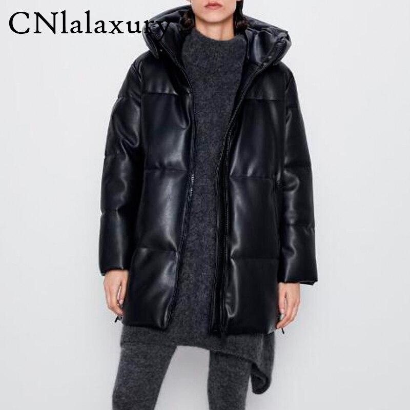 2020 зимняя женская длинная куртка из искусственной кожи с капюшоном, парка с толстыми карманами, женская элегантная куртка из искусственной кожи, теплое пальто casaco осень|Кожаные куртки|   | АлиЭкспресс
