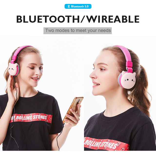 Cute Kids Girl Cartoon Blueooth Headphones 3D Cat Rabbit Animal Wireless Music Helmet Gaming Headset For Moible Phone MP3 PC 2