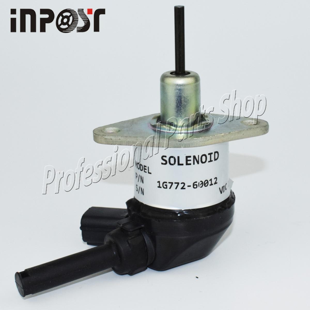 1g772-60012, 1g772-60014 12 v solenóide de combustível para modelos kx0574 m6040f do trator de kubota