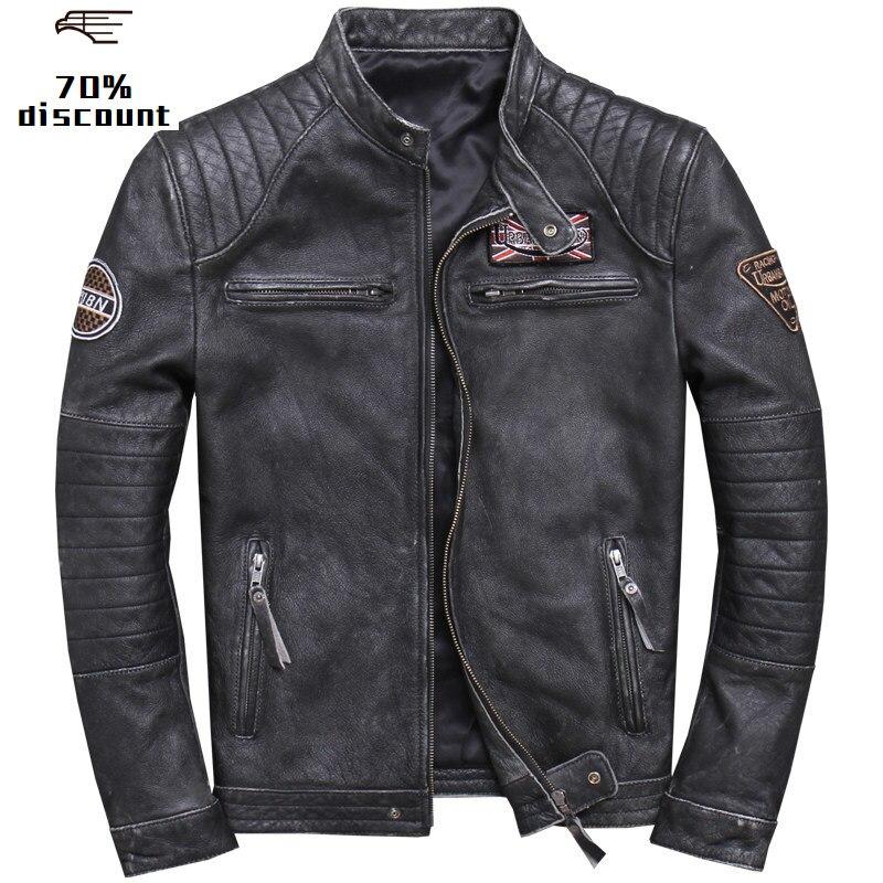 2020 Vintage Black Men Slim Fit Biker Leather Jacket Plus Size 4XL Genuine Cowhide Spring Motorcycle Leather Coat FREE SHIPPING